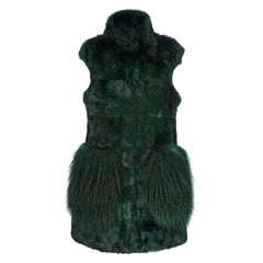Verheyen London Nehru Gilet in Rabbit Fur & Lamb in Forest Green Size uk 8