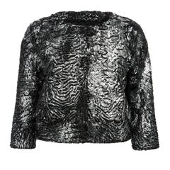 Verheyen London Cropped Jacket in Swakara Lamb Fur in Metallic Silver Size uk 8