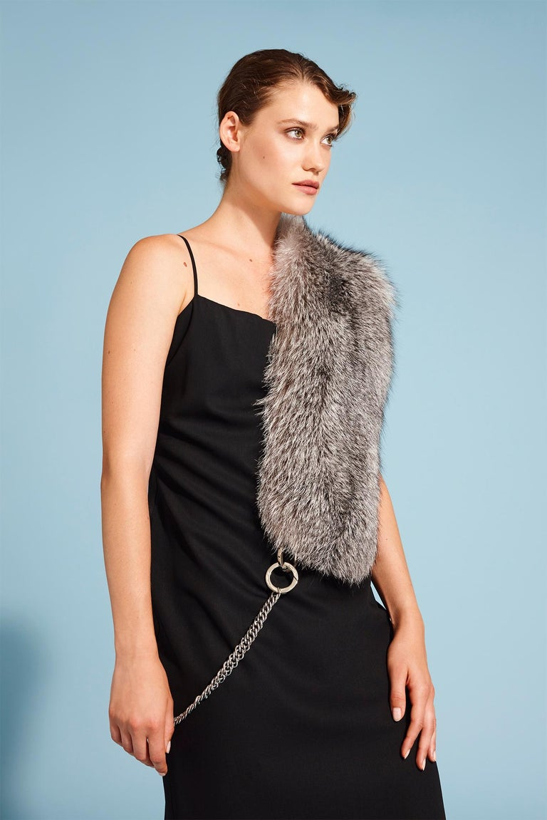 PRODUCT DETAILS  The chained stole is Verheyen London's new creation for the classic or biker chic look. To be worn with or without a chain, this versatile stole will take you from a glamorous ball to a fashion event. This design is perfect for