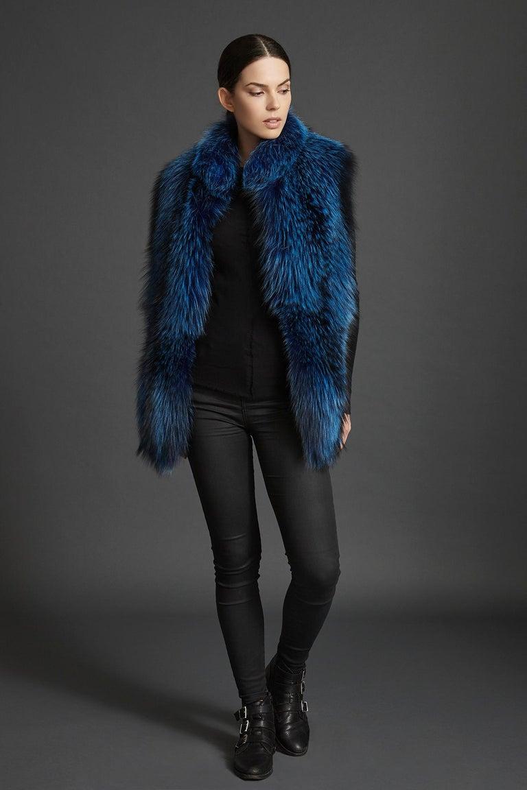 Verheyen London Nehru Collar Stole  in Lapis Blue Fox Fur & Silk Lining For Sale 2