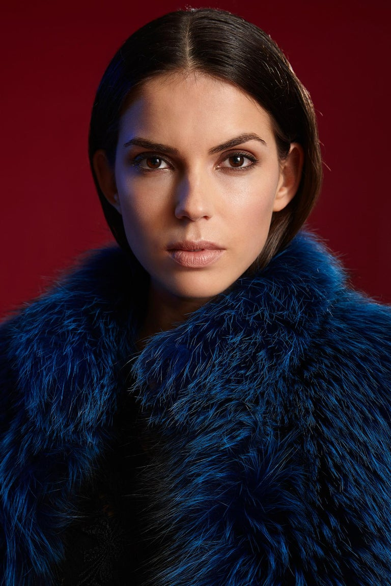 Verheyen London Nehru Collar Stole  in Lapis Blue Fox Fur & Silk Lining For Sale 4
