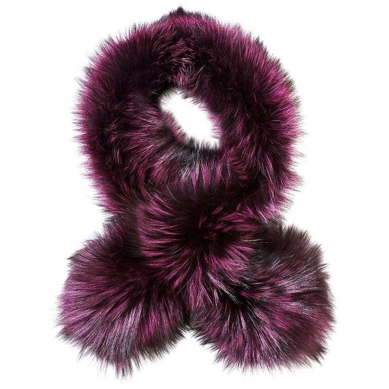 Verheyen London Lapel Cross-through Collar in Deep Amethyst  Fox Fur & Silk For Sale