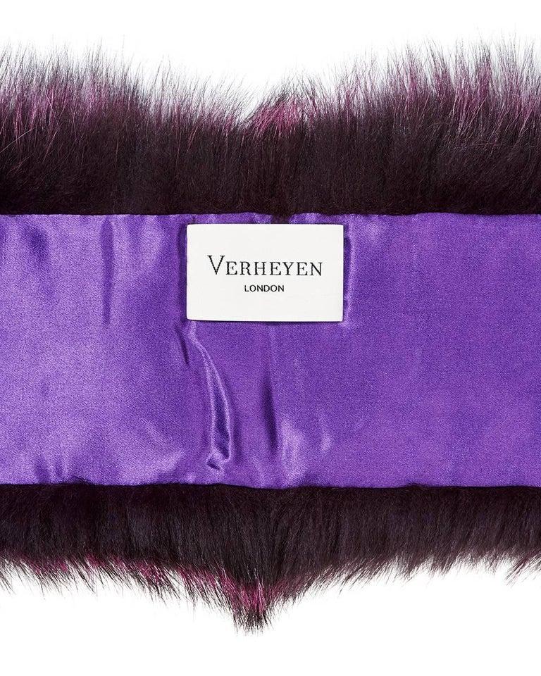 Verheyen London Lapel Cross-through Collar in Deep Amethyst  Fox Fur & Silk For Sale 1