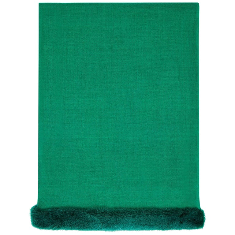 Verheyen London Handwoven Mink Fur Trimmed Emerald Green Cashmere Shawl  For Sale