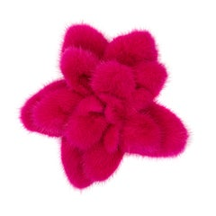 Verheyen London Mink Fur Flower Brooch in Fuchsia Pink