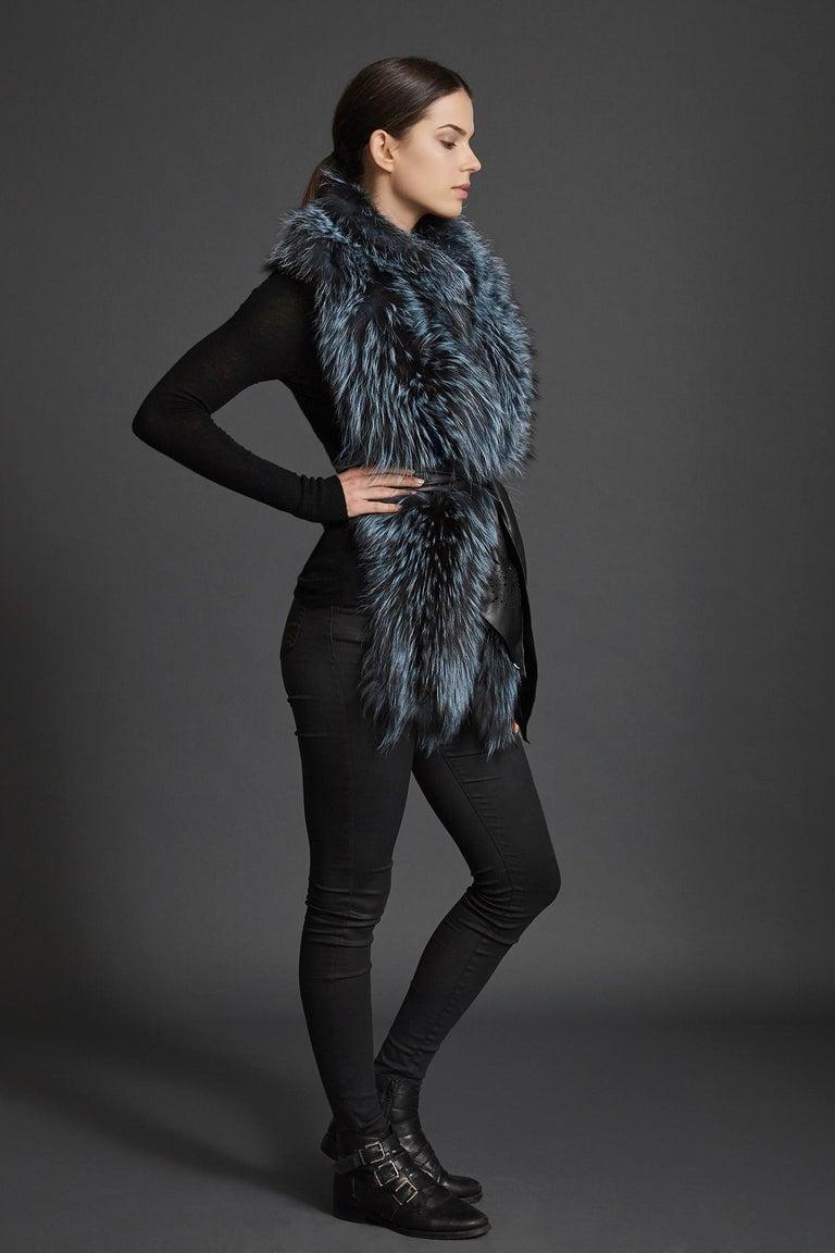 Verheyen London Nehru Collar Stole in Soft Blue Fox Fur & Silk Lining For Sale 1