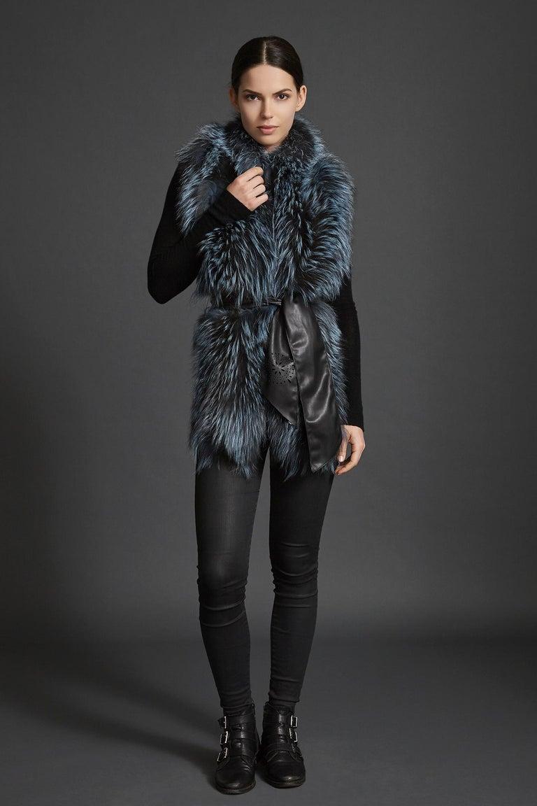 Pink Verheyen London Nehru Collar Stole in Soft Blue Fox Fur & Silk Lining For Sale