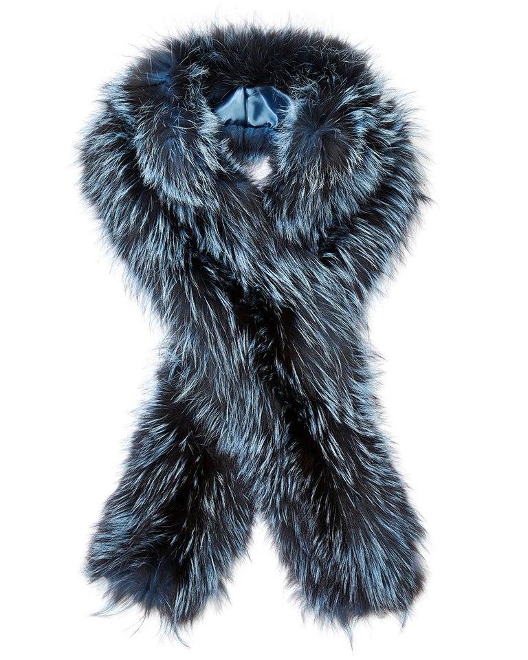 Verheyen London Nehru Collar Stole in Soft Blue Fox Fur & Silk Lining For Sale 5