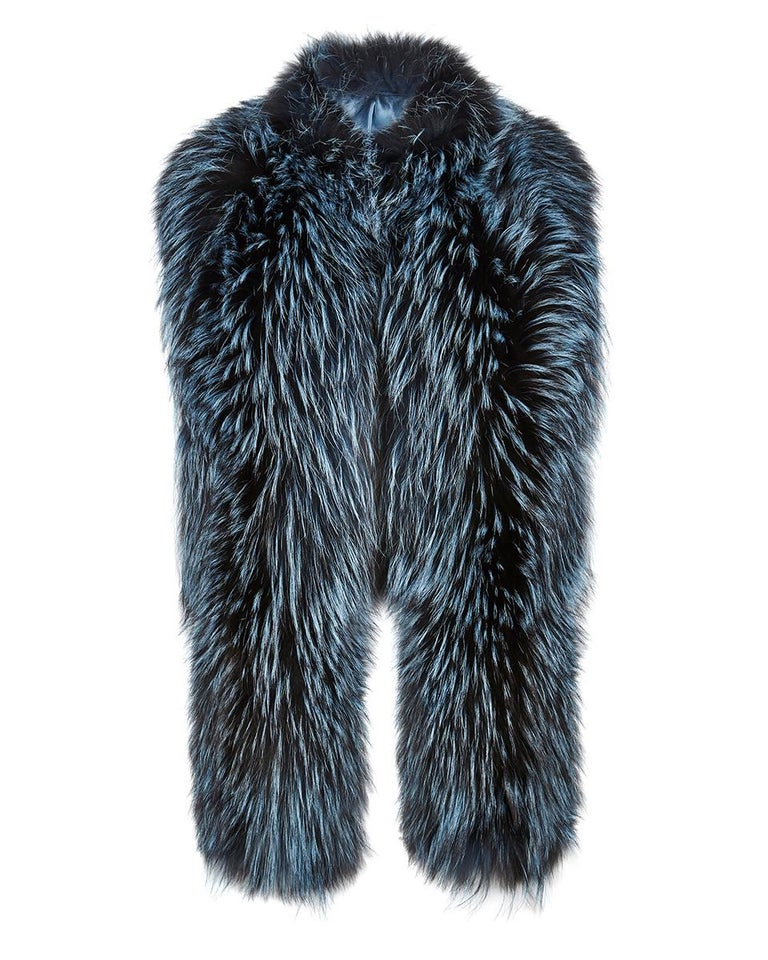 """The perfect Christmas gift which can be personally monogrammed on request with hand embroidery.  The Nehru Collar Stole is Verheyen London's wardrobe """"must have"""" for effortless style and glamour. Crafted in the finest dyed silver fox and lined in"""