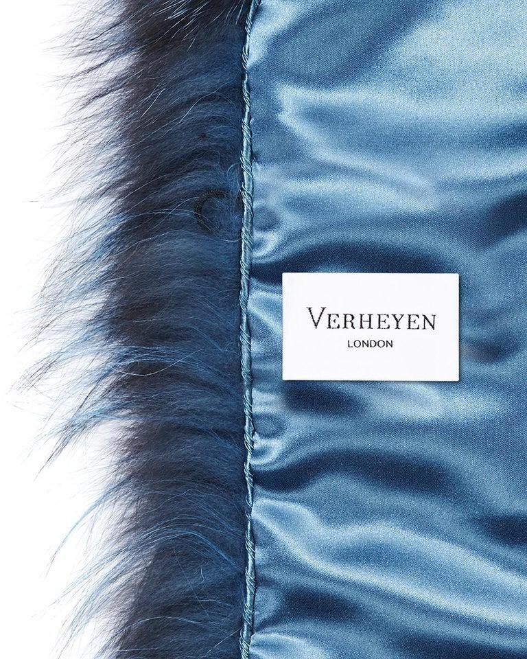Verheyen London Nehru Collar Stole in Soft Blue Fox Fur & Silk Lining For Sale 6