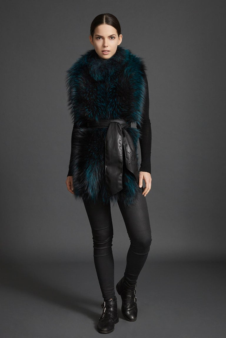 Verheyen London Nehru Collar Stole in Electric Teal Fox Fur & Silk Lining For Sale 1