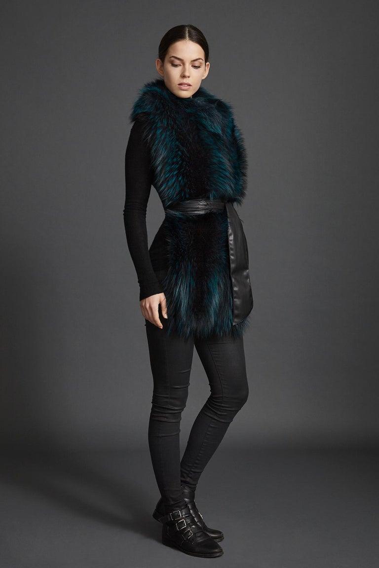 Verheyen London Nehru Collar Stole in Electric Teal Fox Fur & Silk Lining For Sale 3