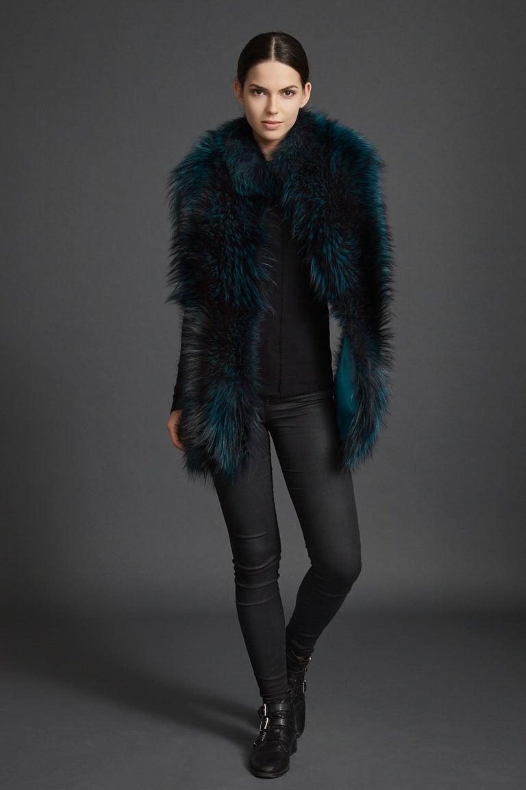 Verheyen London Nehru Collar Stole in Electric Teal Fox Fur & Silk Lining For Sale 2