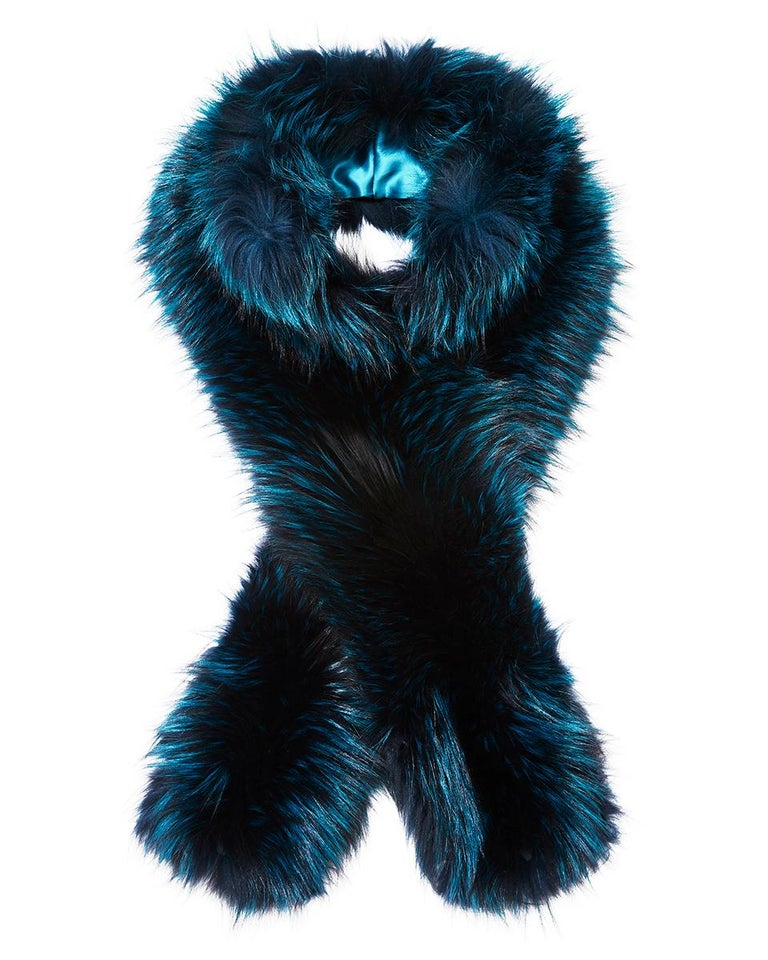 Verheyen London Nehru Collar Stole in Electric Teal Fox Fur & Silk Lining For Sale 5