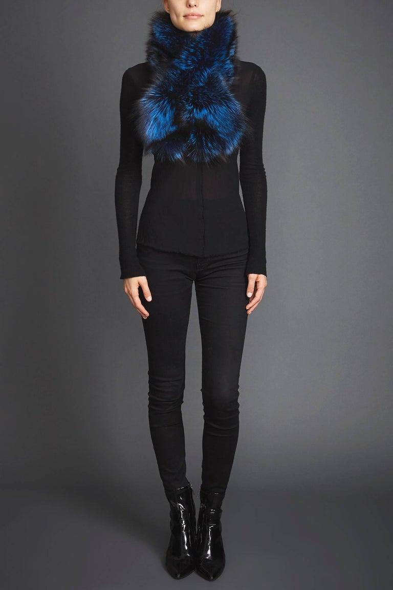 Verheyen London Lapel Cross-through Collar in Sapphire Fox Fur & Silk Lining In New Condition For Sale In London, GB