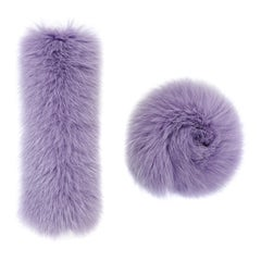 Verheyen London Pair of Snap on Fox Fur Cuffs in Lilac (Small size)