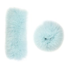 Verheyen London Pair of Snap on Fox Fur Cuffs in Aquamarine Ice (Small size)
