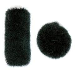 Verheyen London Large Pair of Snap on Fox Fur Cuffs in Winter Green