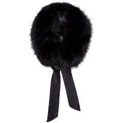 Verheyen London Circle Stand up Collar in Black Fox Fur & with Silk tie - Gift