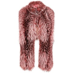 Verheyen London Nehru Collar Stole Rose Quartz Pink Fox Fur & Silk Lining