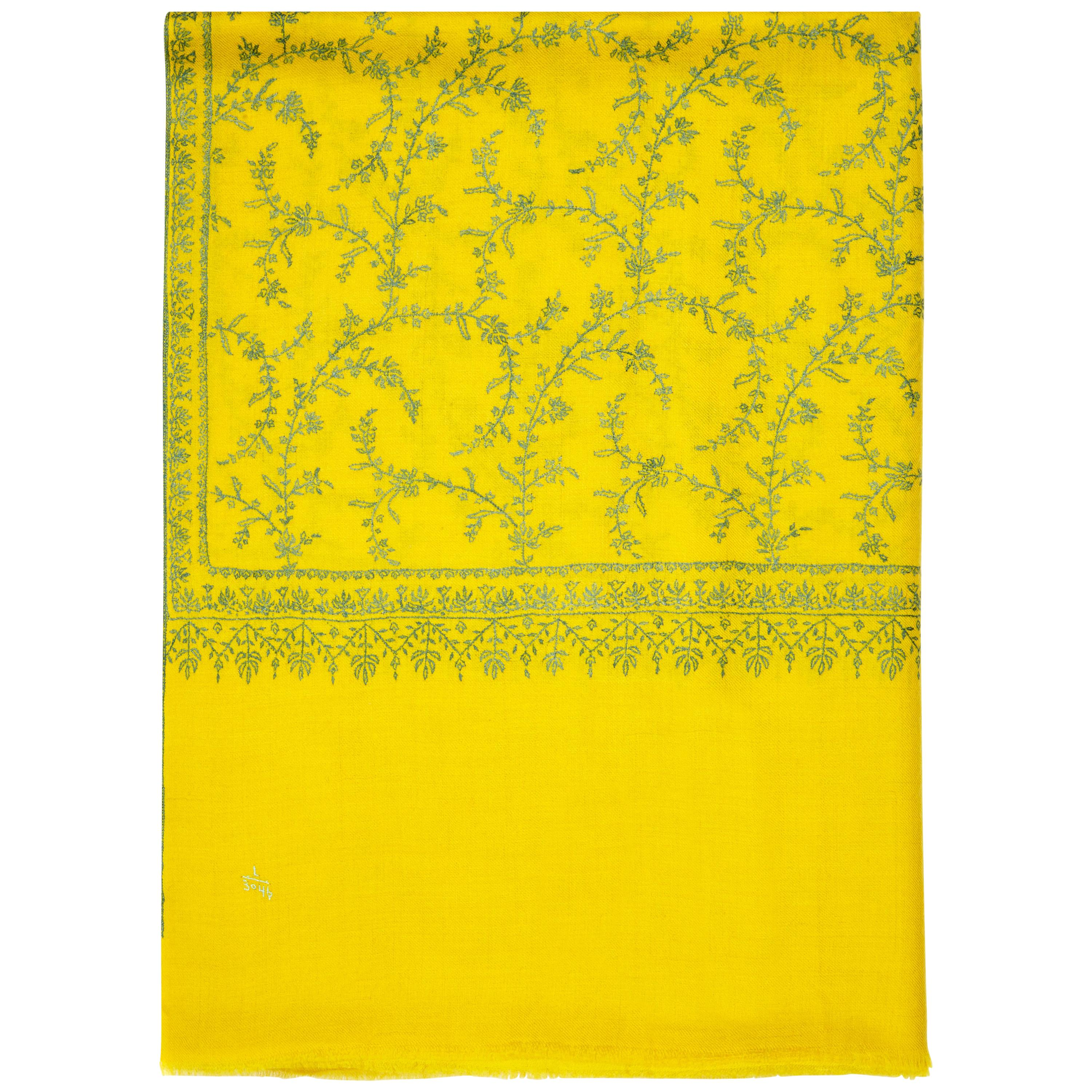 Hand Embroidered 100% Cashmere Scarf in Yellow Made in Kashmir India