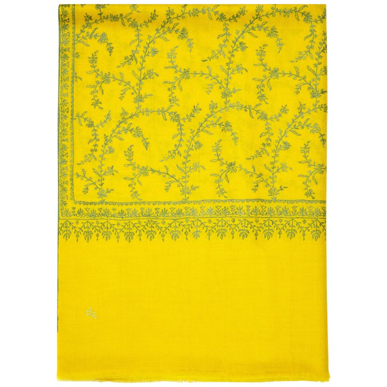 Hand Embroidered 100% Cashmere Scarf in Yellow Made in Kashmir India - Brand New For Sale
