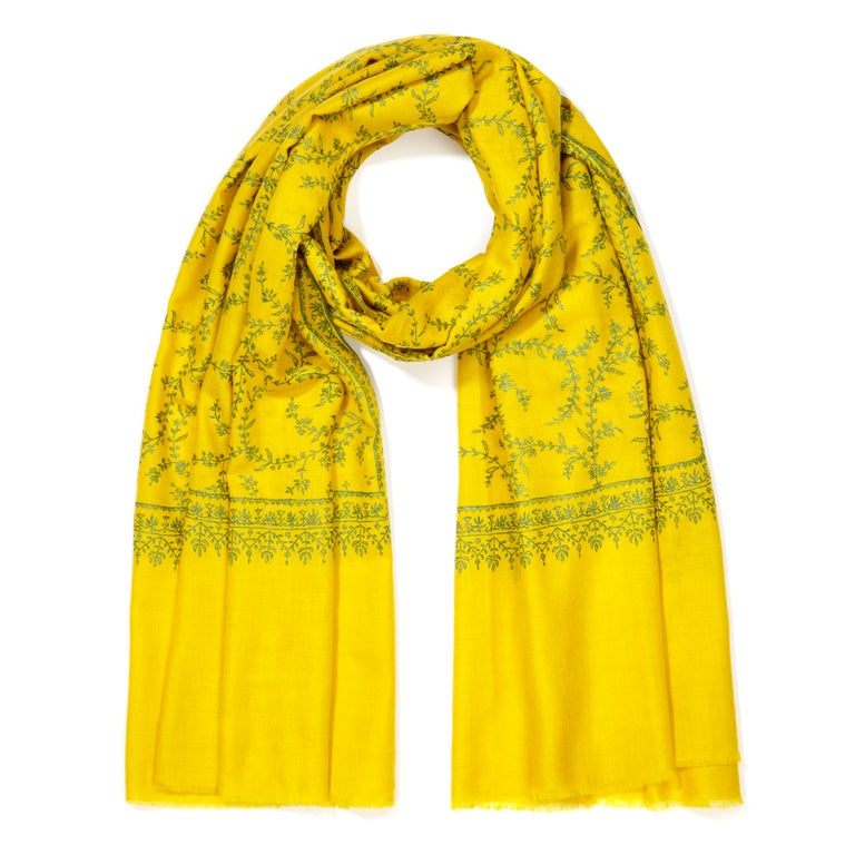 Women's or Men's Hand Embroidered 100% Cashmere Scarf in Yellow Made in Kashmir India - Brand New For Sale