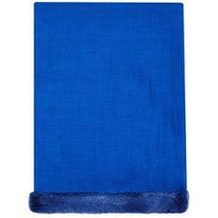 Verheyen London Handwoven Mink Fur Trimmed Cashmere Shawl in Blue Sapphire new
