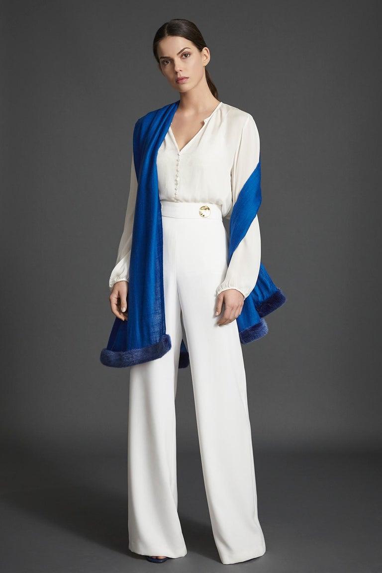Women's or Men's Verheyen London Handwoven Mink Fur Trimmed Cashmere Shawl in Blue Sapphire new  For Sale