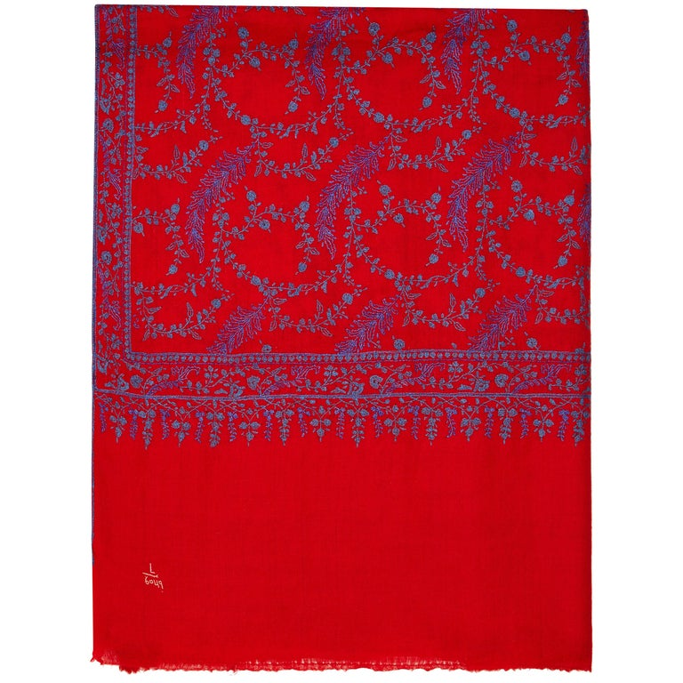 High Quality Hand Embroidered 100% Cashmere Shawl in Red & Blue - New  For Sale