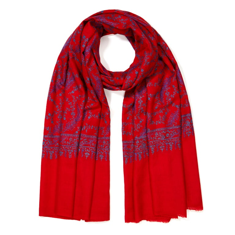 Women's or Men's High Quality Hand Embroidered 100% Cashmere Shawl in Red & Blue - New  For Sale
