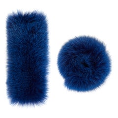 Verheyen London Pair of Snap on Fox Fur Cuffs in Blue (Small size)
