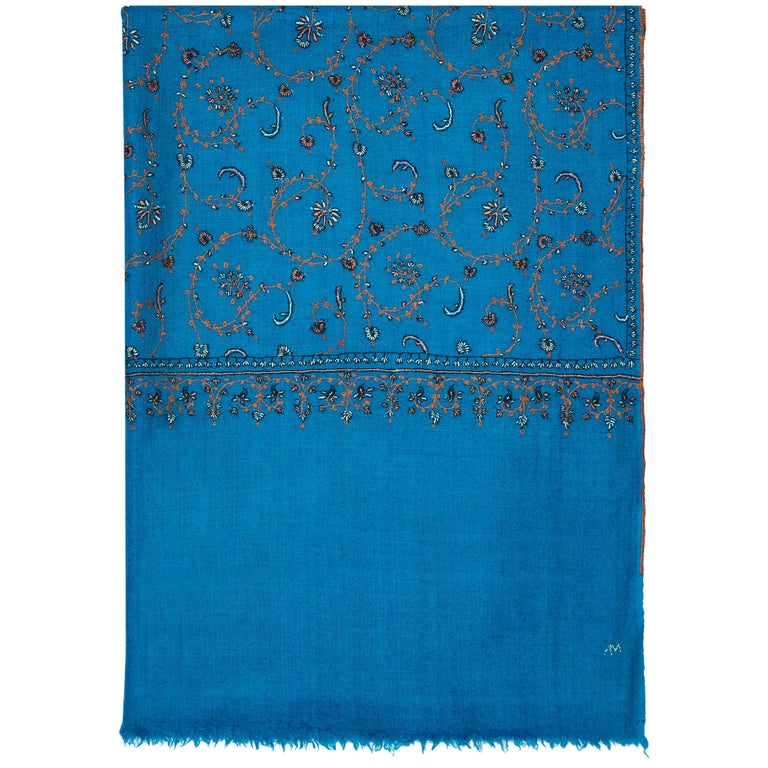Limited Edition Hand Embroidered Cashmere Shawl in Blue Made in Kashmir - Gift 1