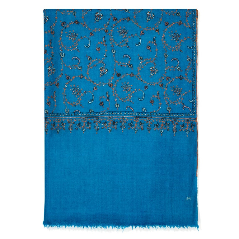 Limited Edition Hand Embroidered Cashmere Shawl in Blue Made in Kashmir - Gift 3