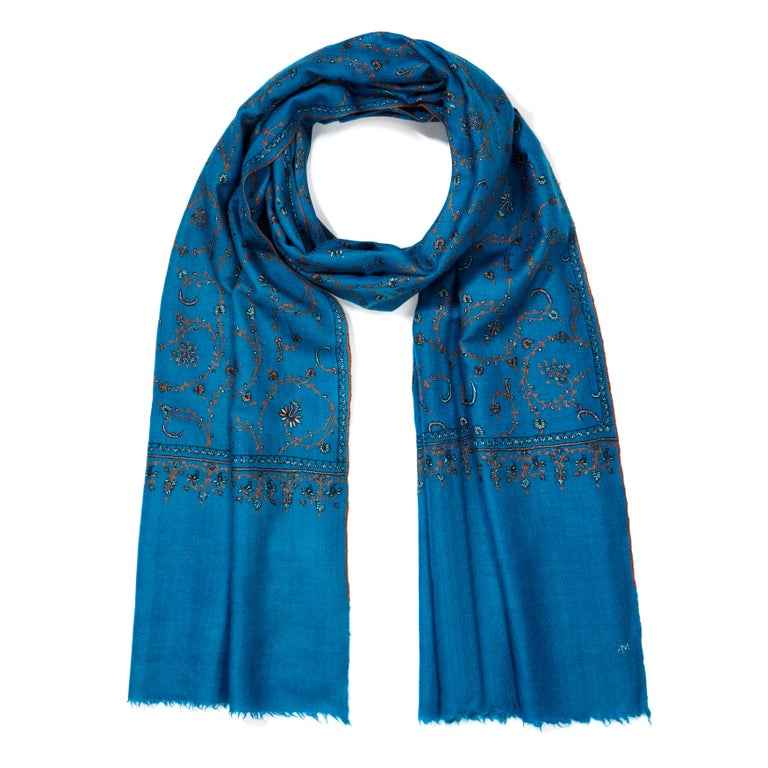 Limited Edition Hand Embroidered Cashmere Shawl in Blue Made in Kashmir - Gift 4