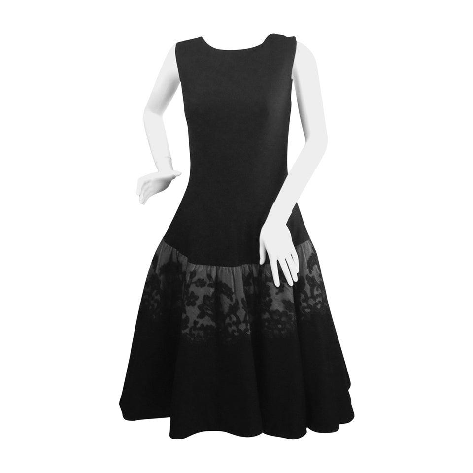 1950s Mr. Blackwell Black Wool Dress For Sale