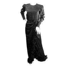 1970s Givenchy Black Silk Gown