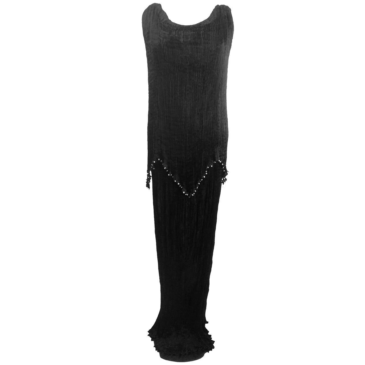 Mariano Fortuny Midnight Black Silk Peplos For Sale
