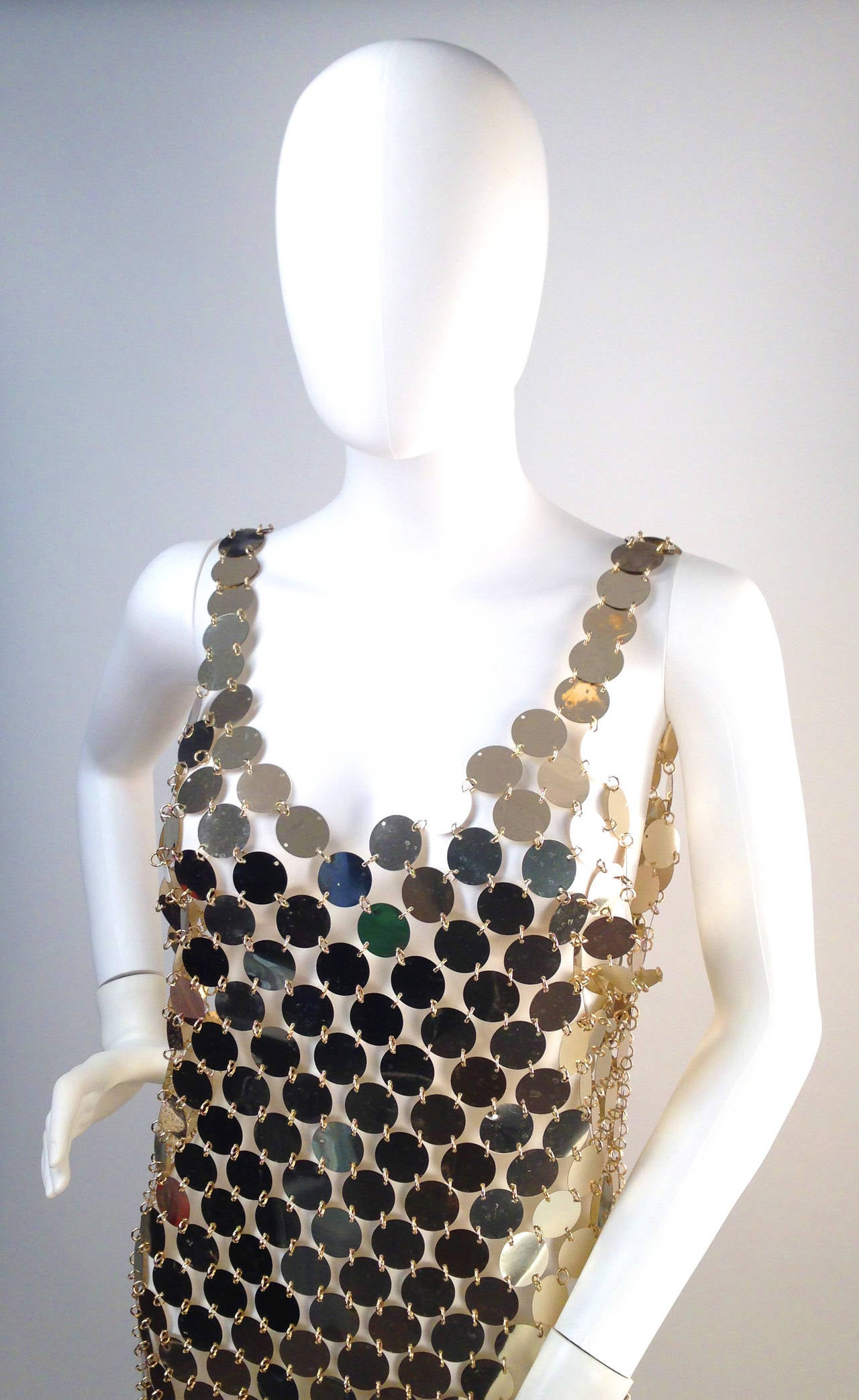 1990s PACO RABANNE Mod Plastic Disc Dress 2