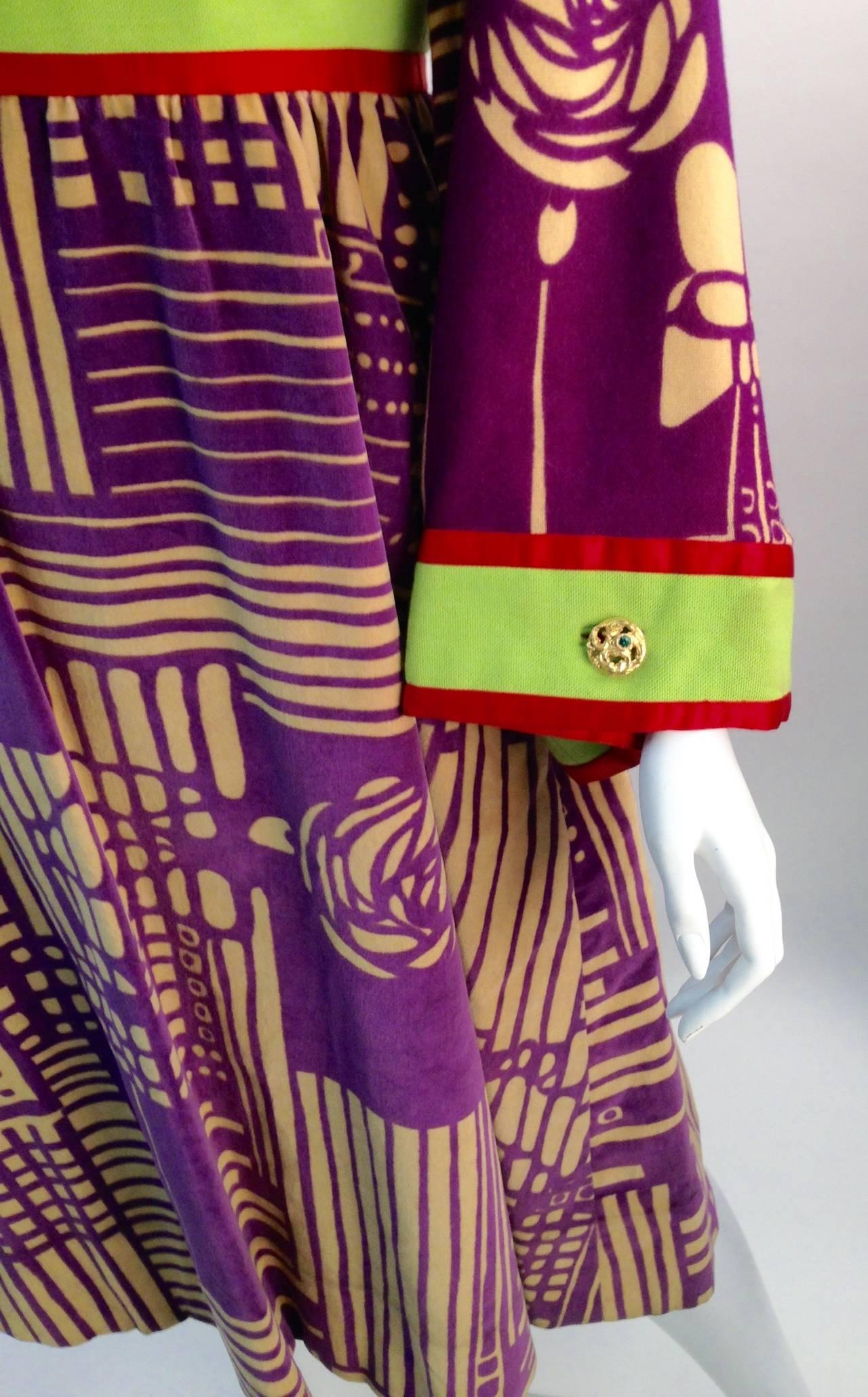 Ronald Amey Purple Abstract Pattern Dress 4