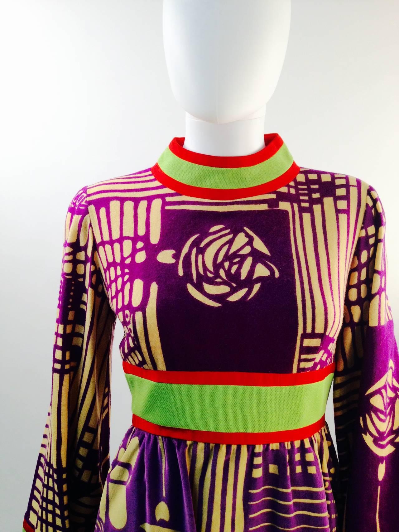 Ronald Amey Purple Abstract Pattern Dress 3