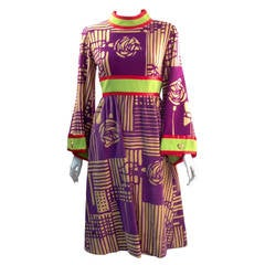 1970s Ronald Amey Purple Abstract Pattern Dress