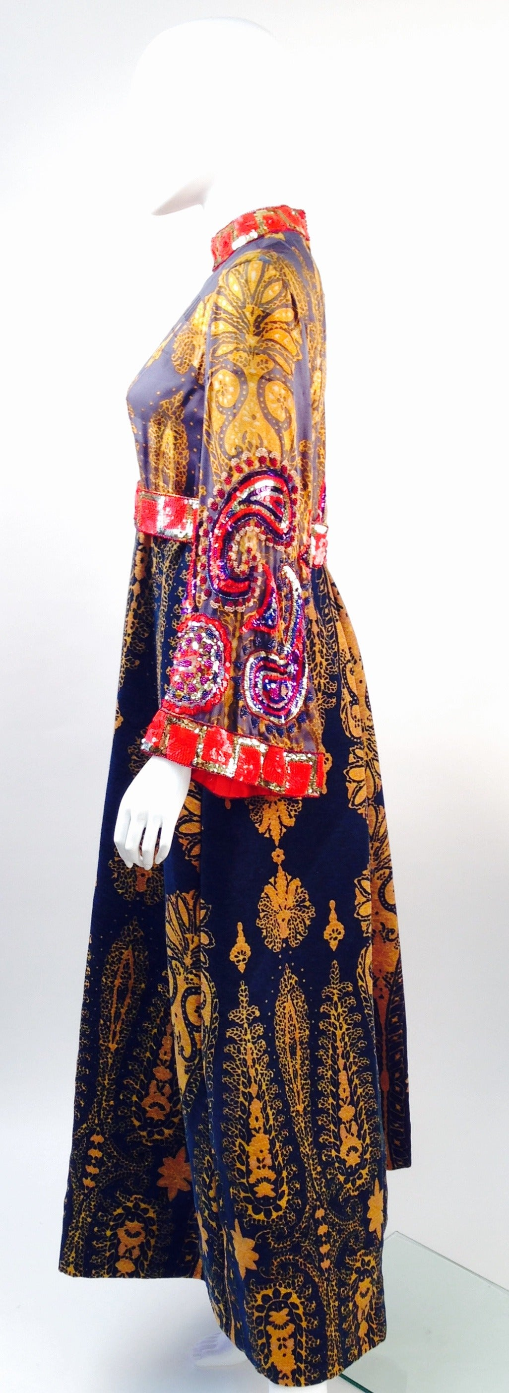 Black 1970s Ronald Amey Embellished Print Gown For Sale