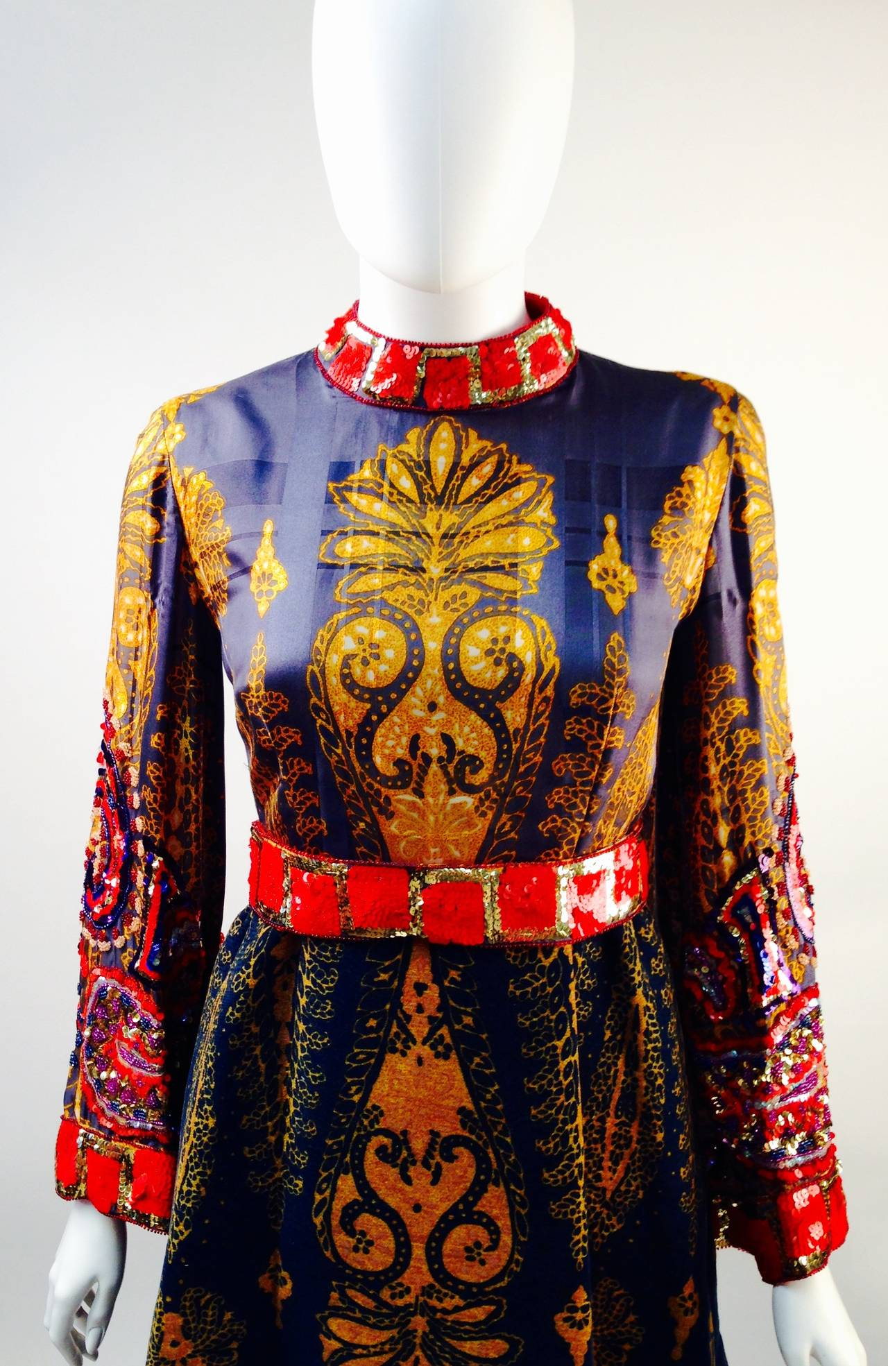 Women's 1970s Ronald Amey Embellished Print Gown For Sale