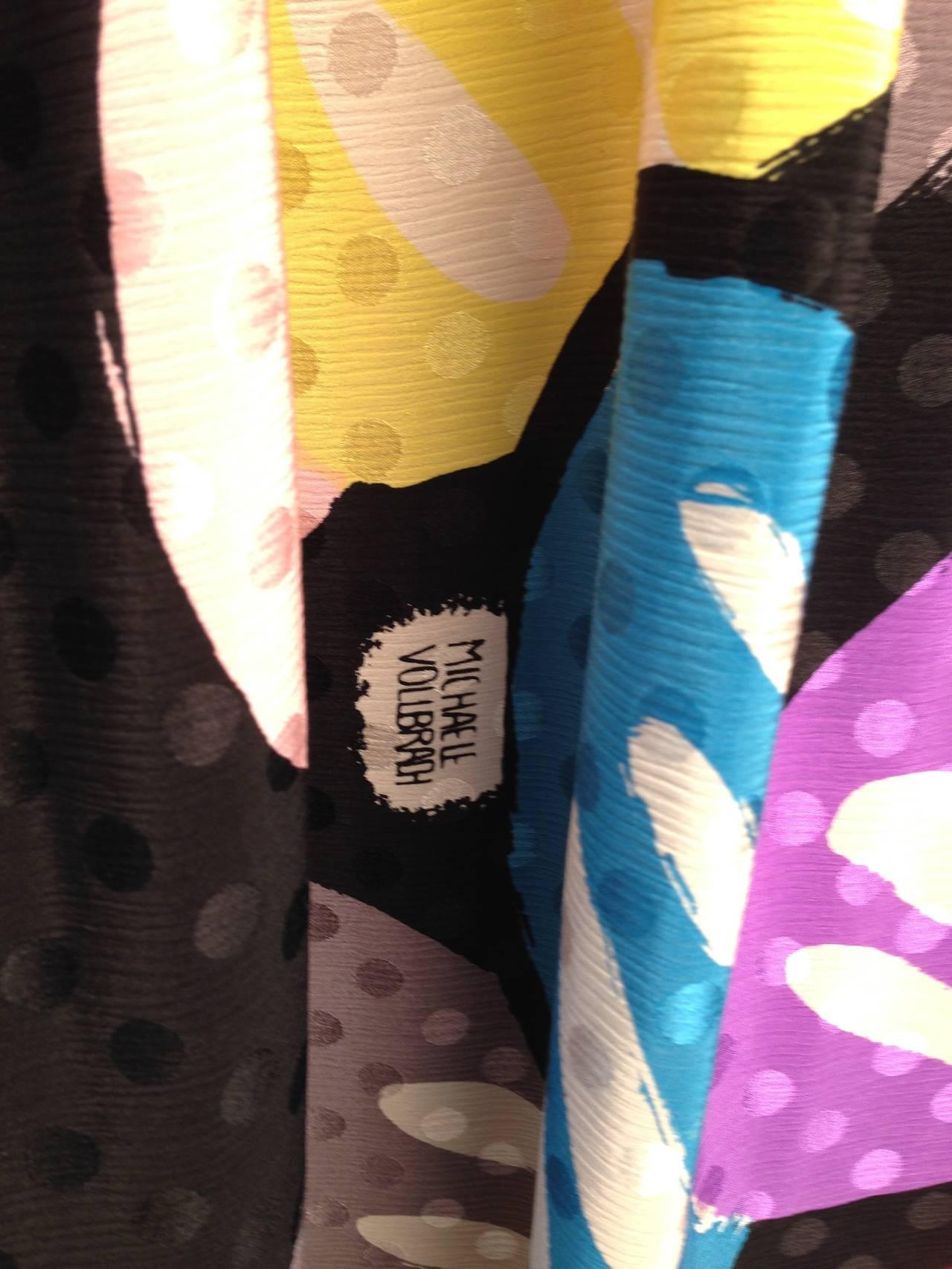 Women's Michaele Vollbracht Designer Print Silk Two Piece Set For Sale