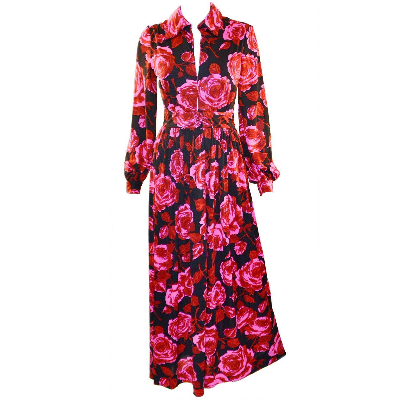 Sakowitz Vibrant Red and Pink Maxi Dress, 1970s  1
