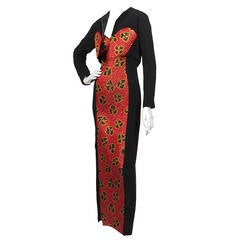 1980's Geoffrey Beene Red and Gold Motif Dress and Bolero