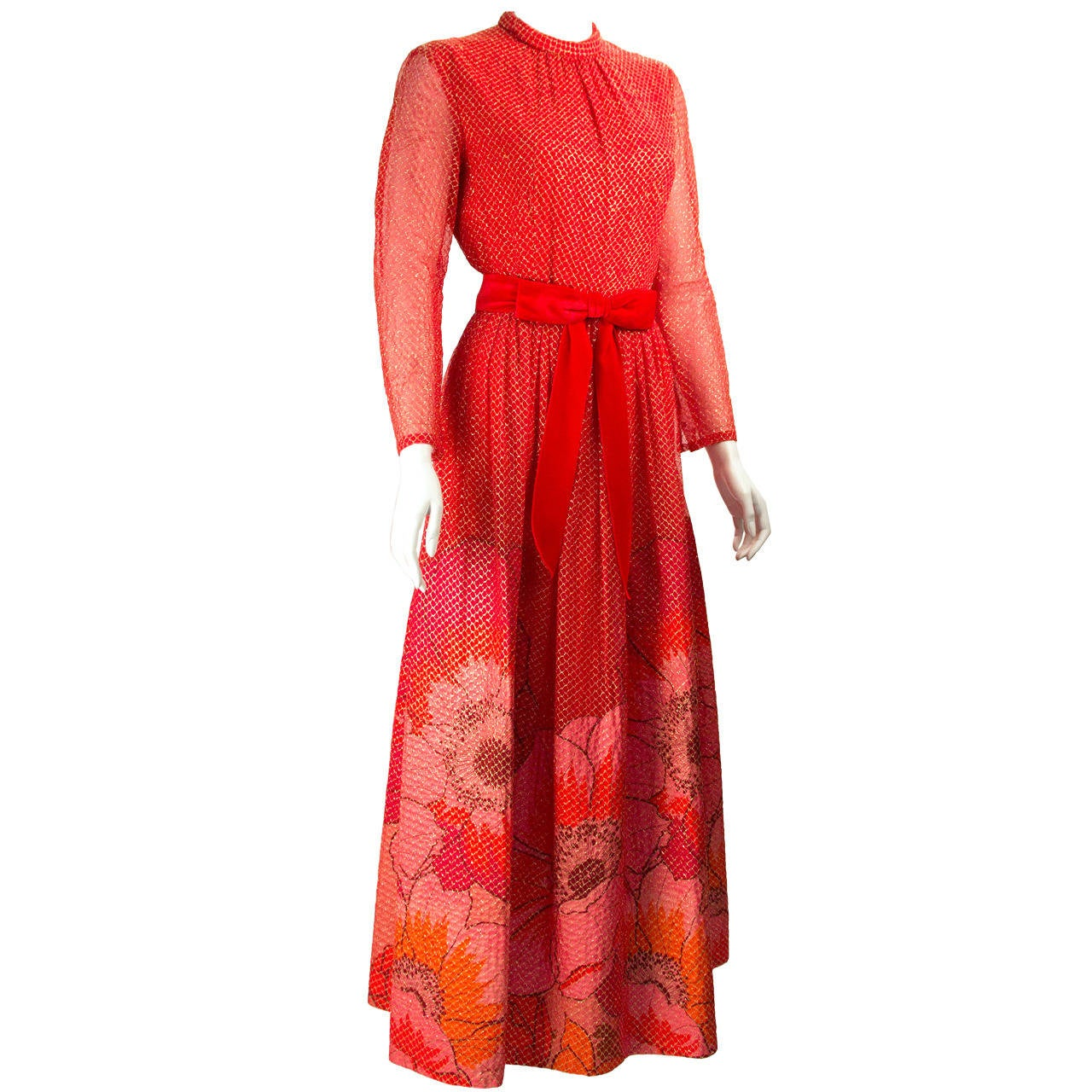1970s Mollie Parnis Red and Gold  Dress