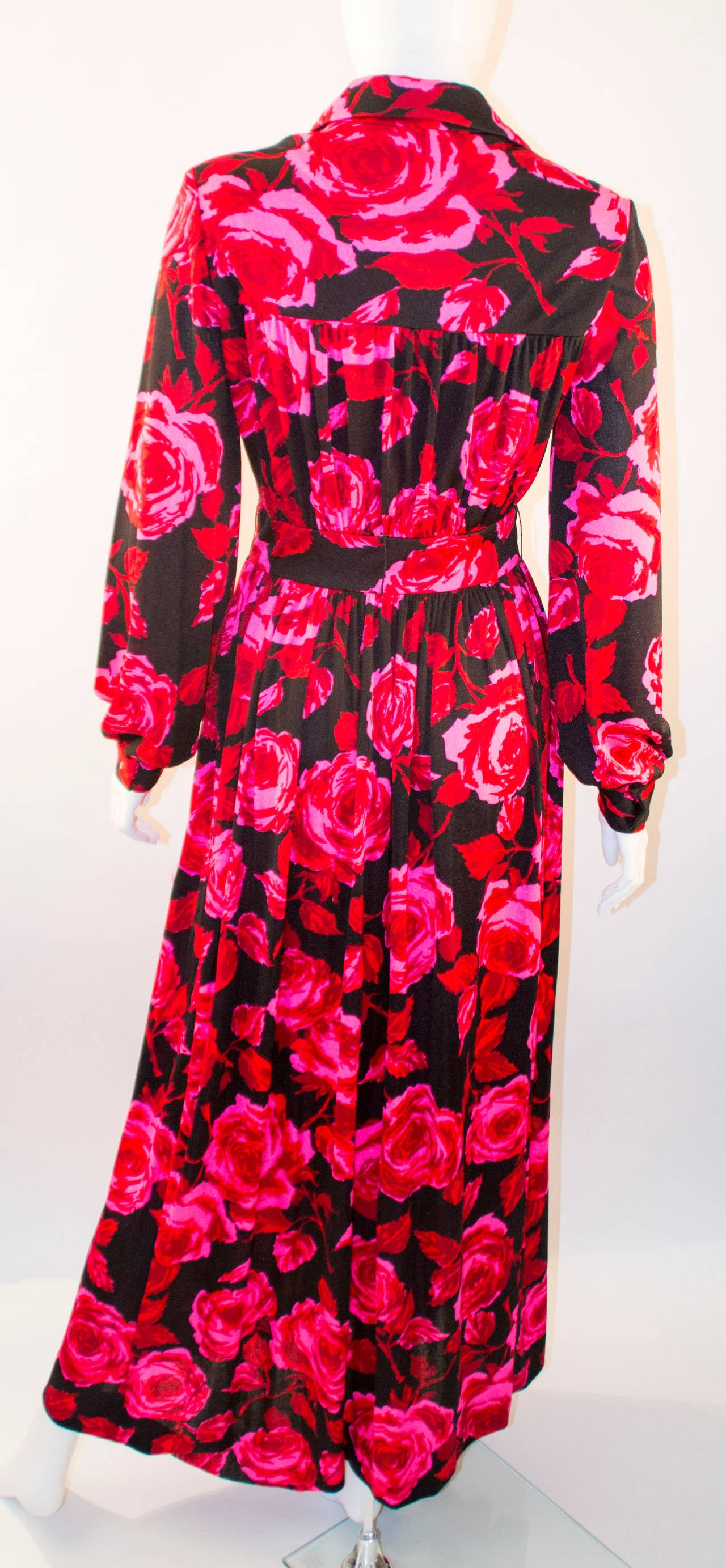 Sakowitz Vibrant Red and Pink Maxi Dress, 1970s  2