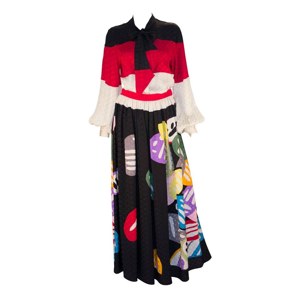 Michaele Vollbracht Designer Print Silk Two Piece Set For Sale